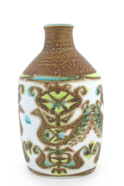 back Nils Thorsson for Royal Copehagen Denmark vintage turquoise yellow Baca faience ceramic bird vase
