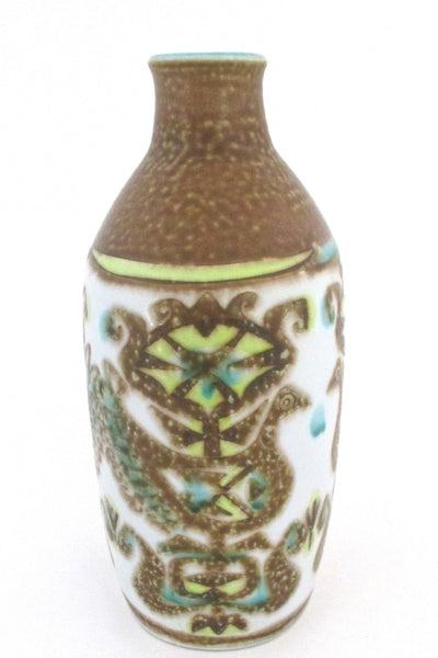 side Nils Thorsson for Royal Copehagen Denmark vintage turquoise yellow Baca faience ceramic bird vase