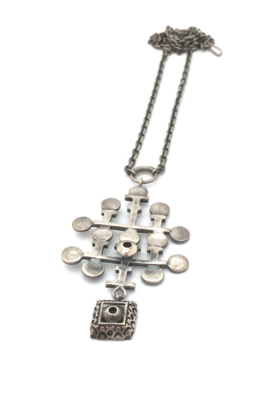 Pentti Sarpaneva large silver kinetic pendant necklace ~ 1970