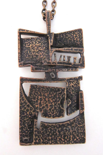 Jorma Laine abstract bronze neckalce
