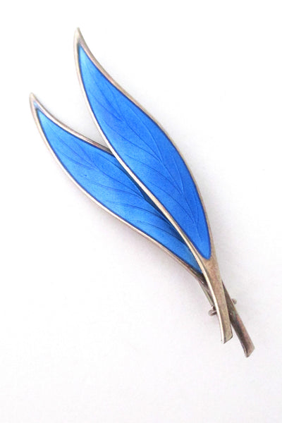 David-Andersen Norway vintage silver and enamel twin leaf brooch