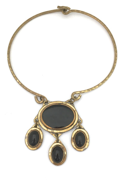 Rafael Canada large four stone brass collier ~ black