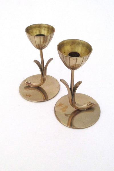Ystad Metall Sweden vintage modernist brass candle holders by Gunnar Ander