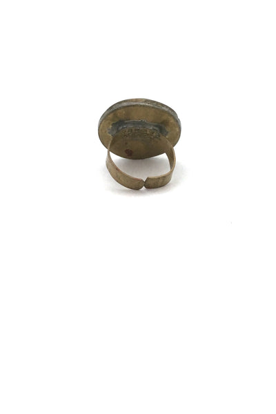 Rafael Canada brass & black oval ring