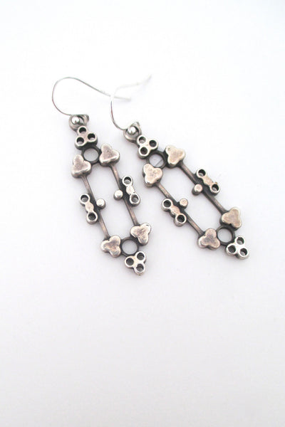 detail David-Andersen Norway vintage Scandinavian Modern silver drop earrings by Marianne Berg