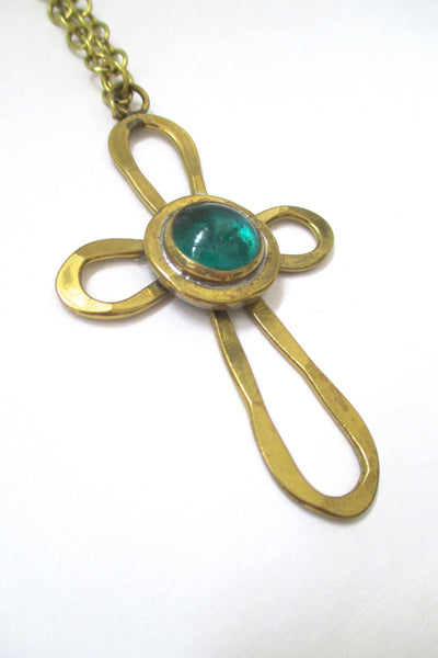 detail Rafael Alfandary Canada vintage brutalist brass and glass green cross pendant necklace