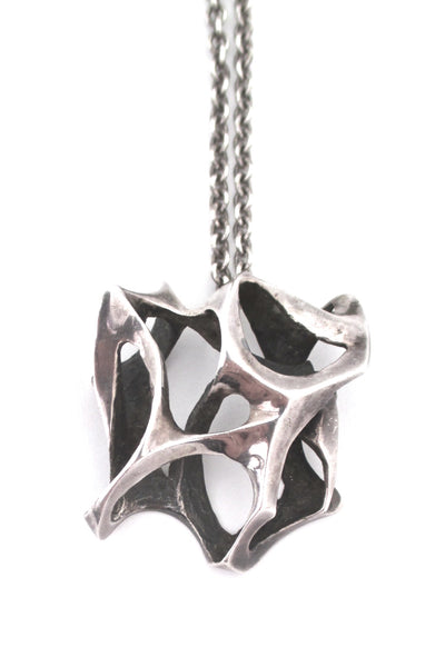 large sculptural silver brutalist pendant necklace
