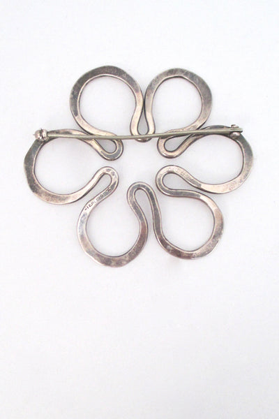 John Lewis hammered silver brooch & earrings - set