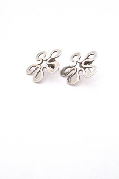 detail John Lewis USA modernist hammered silver flower brooch and earrings set mid century design