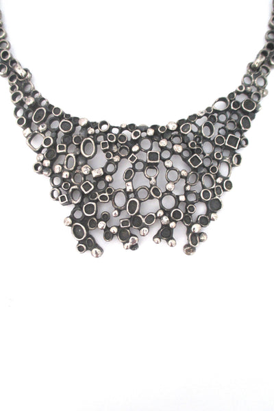 detail Robert Larin Canada vintage brutalist pewter extra large bib necklace