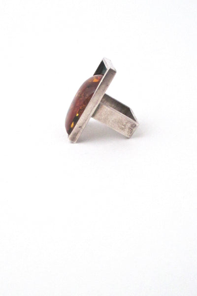 profile Mariusz Gliwinski Poland extra large silver amber ring Modernist design