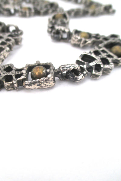 detail Guy Vidal Canada vintage brutalist pewter and bronze long link chain