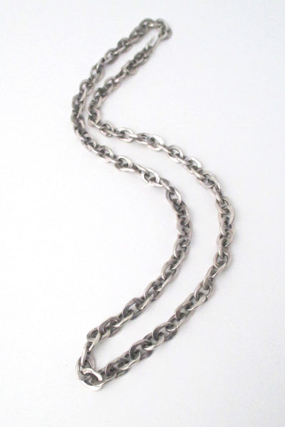 hammered silver heavy brutalist chain necklace