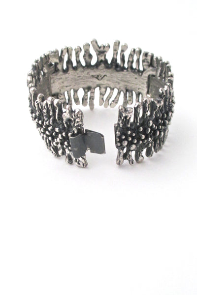closure Guy Vidal Canada vintage brutalist pewter wide hinged bracelet