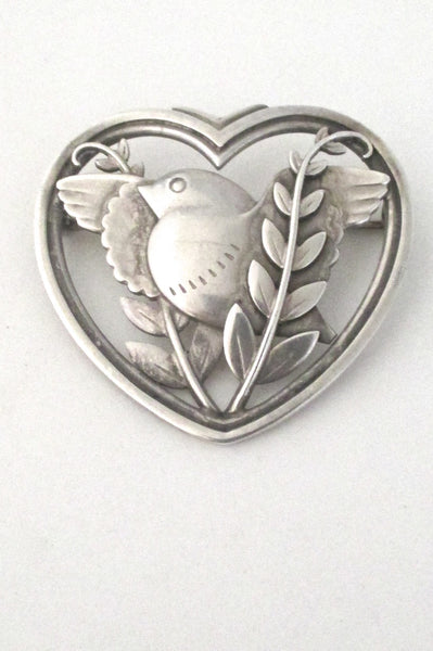 top Georg Jensen Denmark vintage sterling silver bird heart brooch # 239 by Arno Malinowski