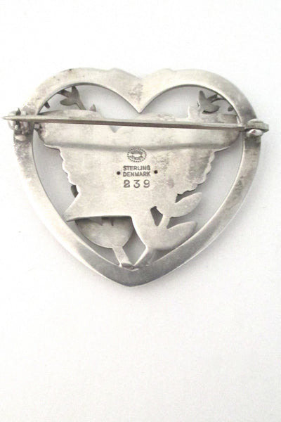 Georg Jensen heart & bird brooch #239