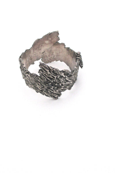 Guy Vidal brutalist pewter 'bark' hinged bracelet