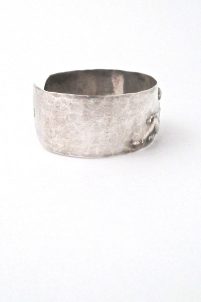 hammered silver repoussé nude cuff bracelet