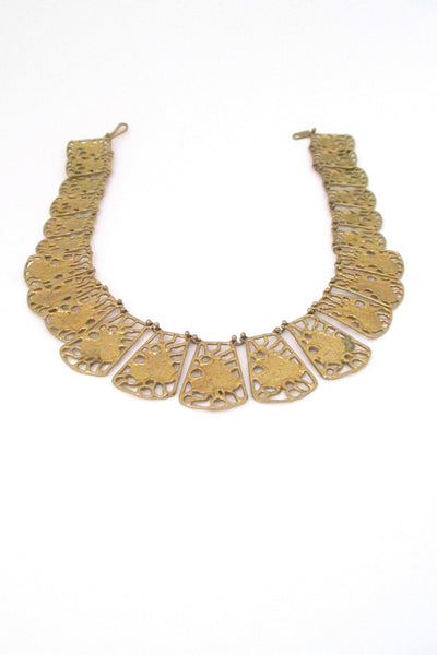 Anne Dick pierced bronze necklace