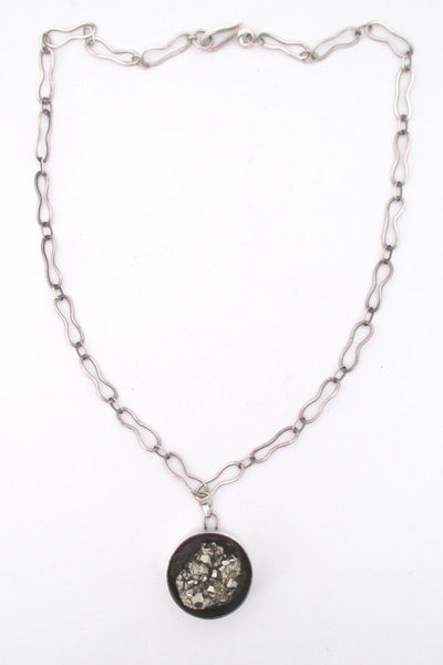 pyrite and silver studio made pendant necklace