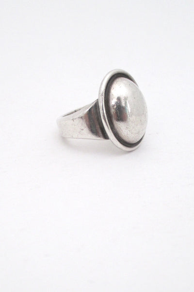 profile Hans Hansen Denmark vintage large heavy sterling silver modernist ring