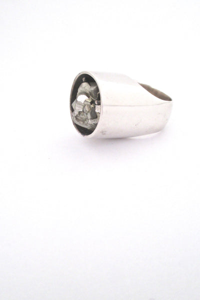 pyrite and silver large scale ring