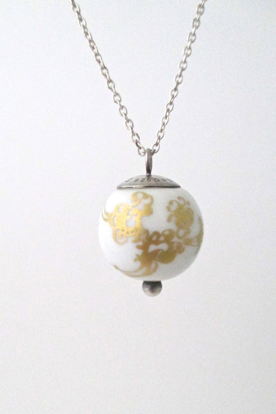 detail Porsgrund Norway vintage modernist porcelain pendant necklace by Anne Marie Odegaard