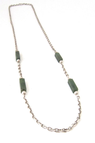 NE From Denmark vintage silver and jade heavy link chain necklace