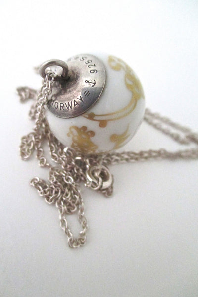 Porsgrund porcelain & sterling pendant necklace