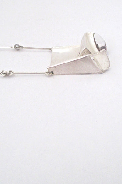 profile Bjorn Weckstrom extra large vintage silver acrylic Monolith pendant necklace 1974 Scandinavian Modern design