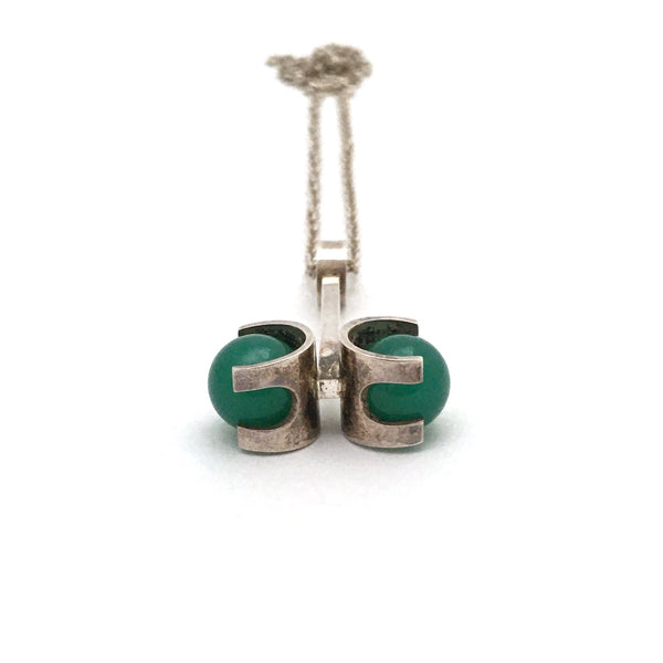 Elis Kauppi 'twin spheres' chrysoprase pendant necklace