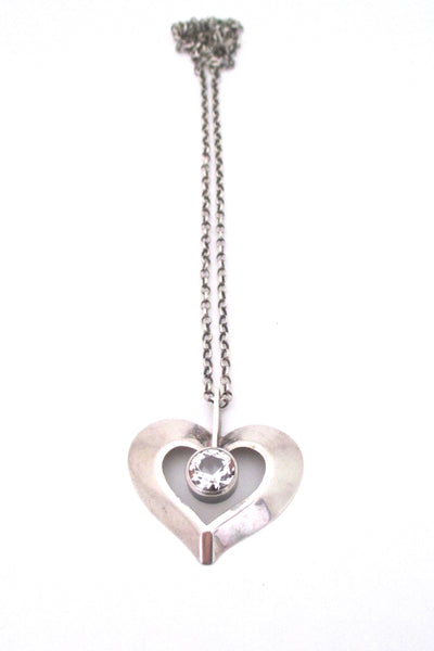 Finnish silver & rock crystal heart pendant - 1974
