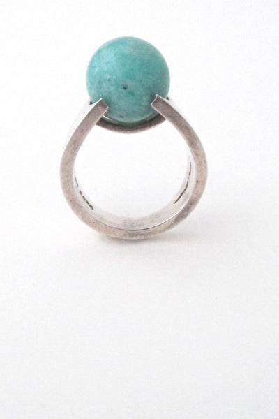 profile Hans Hansen Denmark vintage modernist sterling silver and amazonite ring