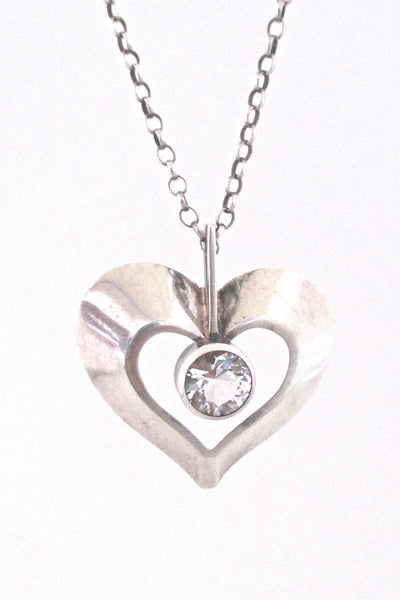 detail Finnish vintage silver rock crystal Scandinavian Modernist heart pendant necklace