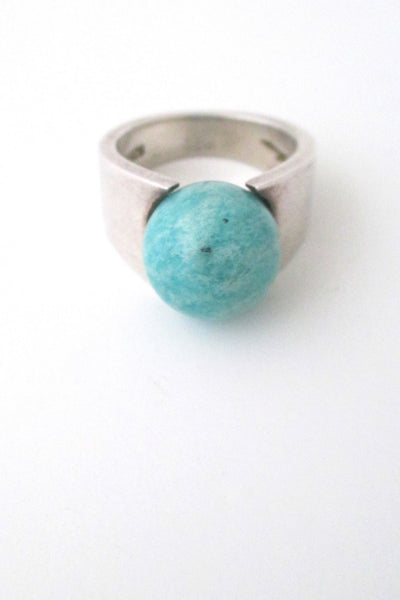 front Hans Hansen Denmark vintage modernist sterling silver and amazonite ring