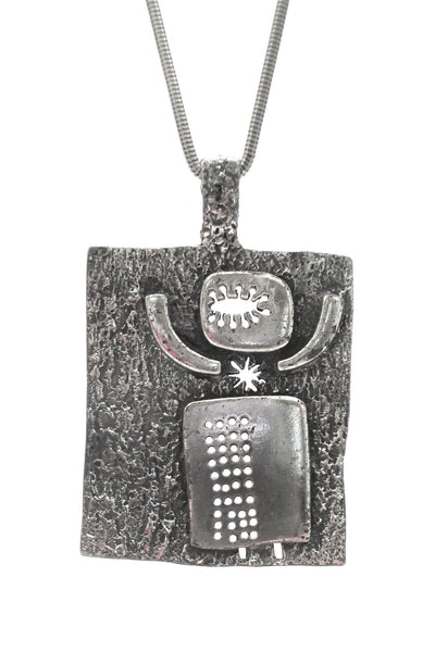 Guy Vidal Canada vintage brutalist pewter open heart open mind pendant necklace