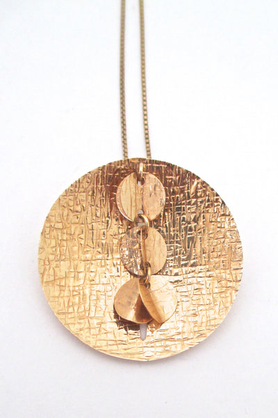 Elis Kauppi large 14k gold kinetic brooch / pendant necklace
