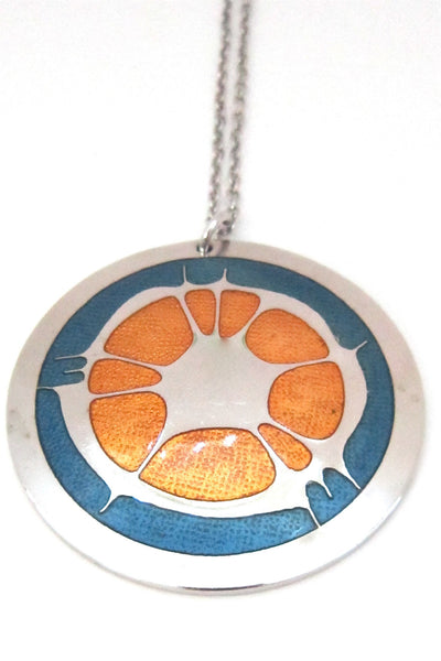 Robert Gervais Canada vintage modernist enamel orange splash pendant necklace