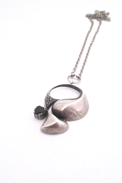 Sten and Laine Finland vintage silver smoky quartz pendant necklace Scandinavian Modernist design