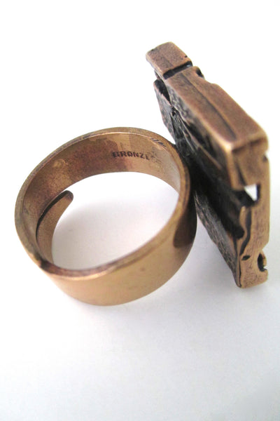 Jorma Laine polished bronze pierced square ring