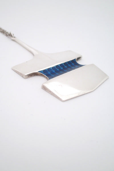 profile David Andersen Norway large vintage modernist heavy silver enamel pendant