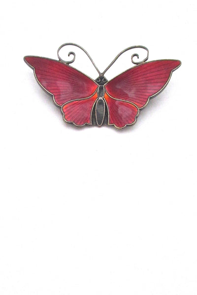 David-Andersen-Norway-large-vintage-silver-red-enamel-butterfly-brooch