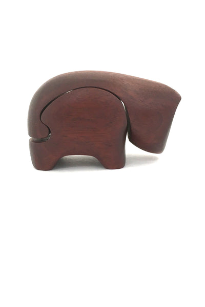 profile Deborah Bump vintage teak wood bear puzzle trinket box 1970s