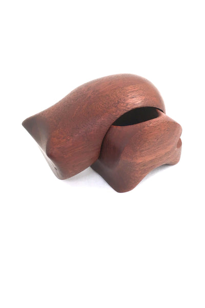 detail Deborah Bump vintage teak wood bear puzzle trinket box 1970s