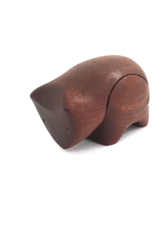 Deborah Bump vintage teak wood bear puzzle trinket box 1970s