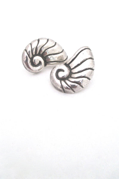 William Spratling nautilus / shell earrings ~ post backs