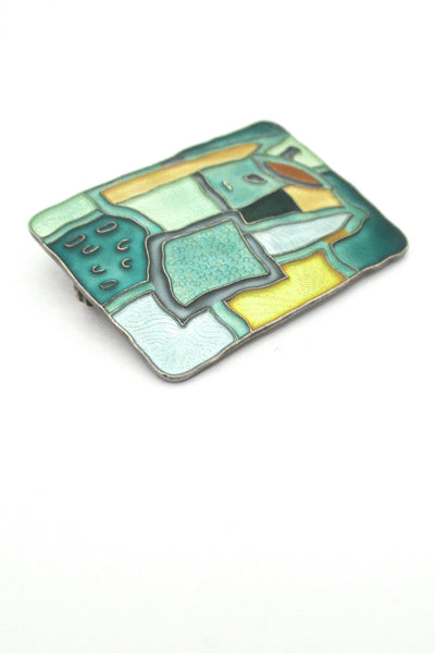 detail David Andersen Norway vintage silver enamel four seasons summer brooch