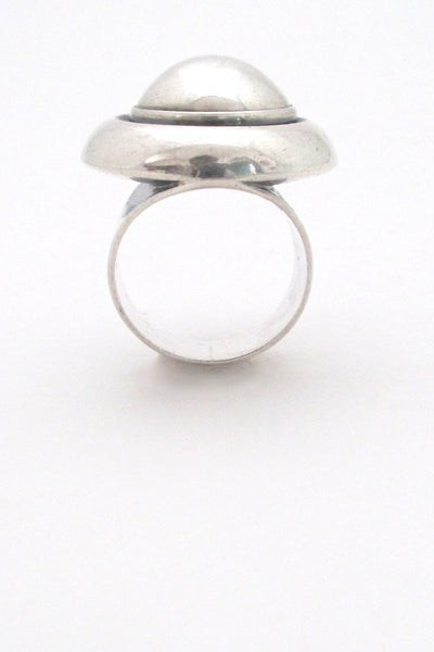 profile Niels From Denmark large Scandinavian Modernist silver dome ring
