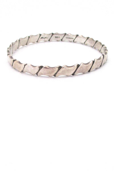 Hans Hansen folded silver bangle bracelet