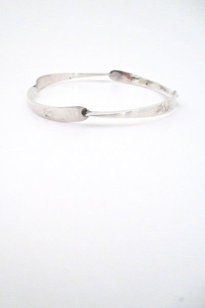 profile Jean Lasnier USA vintage mid century studio made silver bangle bracelet